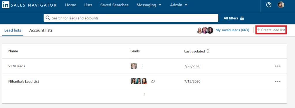 create lists in LinkedIn Sales Navigator